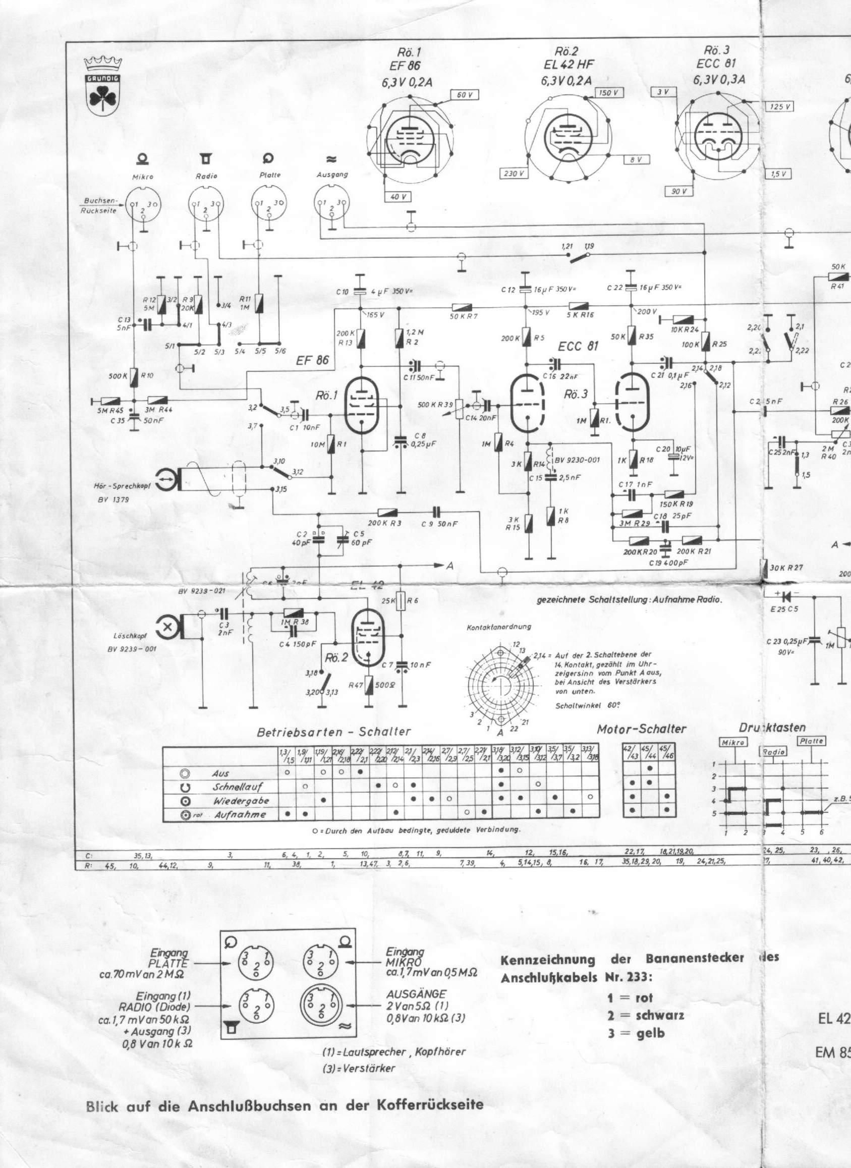 Schaltbilder und Anleitungen zu verschiedenen Geräten - Tonband- und ...